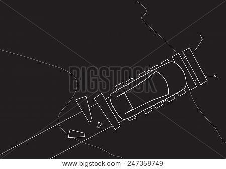 Suv Off Road Car Drive Over The Bridge Top View. Vector Illustration. Line Art Sketch. Vehicle Desig