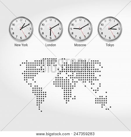 World Time Zones Clocks. Current Time In Famous Cities. Stock Exchange Clocks. New York, London, Mos