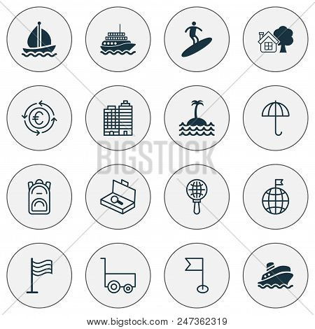 Tourism Icons Set With Motor Ship, Buildings Complex, Flag And Other Pin Elements. Isolated  Illustr