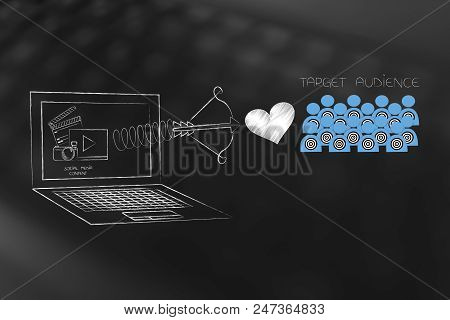Reaching The Right Customer Conceptual Illustration: Social Media Content On Laptop Screen With Love
