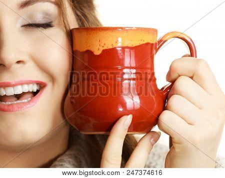 Woman Wearing Warm Clothing Grey Sweater Holding Nice Red Mug Of Warm Beverage Tea Or Coffee On Whit