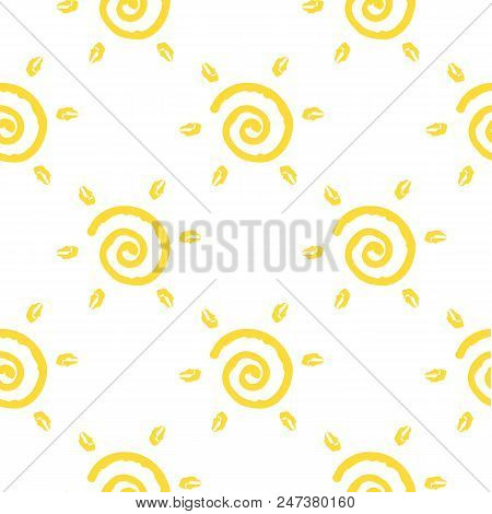 Vector Seamless Pattern With Sun Isolated On White Backdrop. Summer Background. Cute Colorful Wallpa