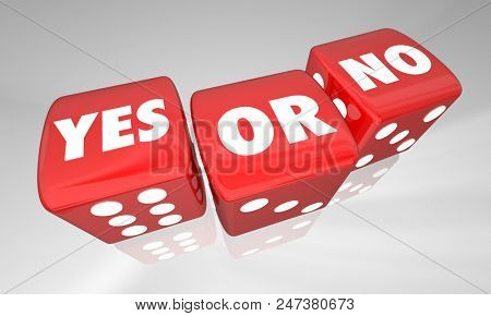 Yes or No Decide Rolling Dice Words 3d Illustration
