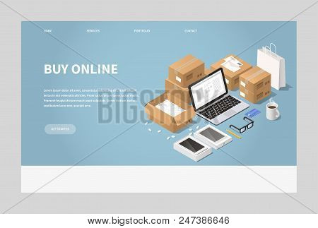 Vector Isometric Online Shopping And Delivery Landing Page Illustration. Laptop With Order Surrounde