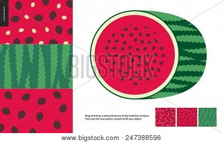 Food Patterns, Summer - Fruit, Watermelon Texture, Melon - Seamless Patterns Of Watermelon Flesh Pul