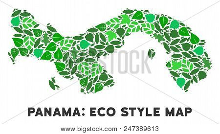 Ecology Panama Map Collage Of Floral Leaves In Green Color Hues. Ecological Environment Vector Templ