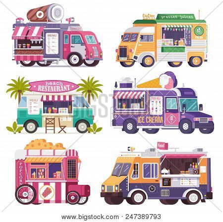City Fast Food Trucks And Wagons Set In Flat Design. Ice Cream Parlor, Coffee Van, Beach Bar, Popcor