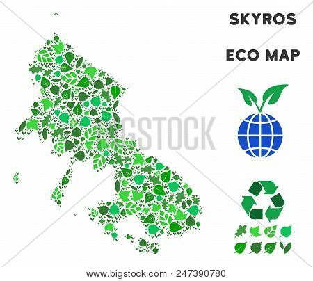 Ecology Skyros Greek Island Map Mosaic Of Plant Leaves In Green Color Tinges. Ecological Environment