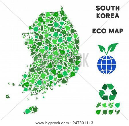 Ecology South Korea Map Mosaic Of Floral Leaves In Green Color Tints. Ecological Environment Vector