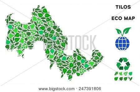 Ecology Tilos Greek Island Map Composition Of Herbal Leaves In Green Color Shades. Ecological Enviro