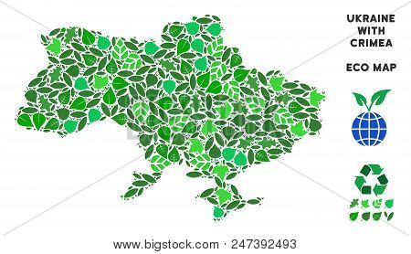Ecology Ukraine Map With Crimea Mosaic Of Floral Leaves In Green Color Variations. Ecological Enviro