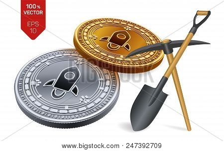 Stellar Mining Concept. 3d Isometric Physical Bit Coin With Pickaxe And Shovel. Digital Currency. Cr