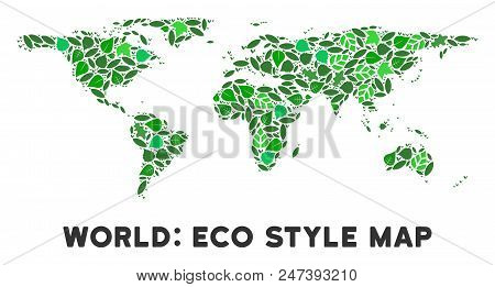 Ecology World Map Mosaic Of Herbal Leaves In Green Color Variations. Ecological Environment Vector T