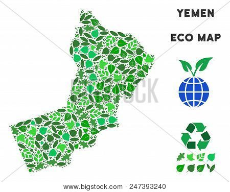 Ecology Yemen Map Mosaic Of Herbal Leaves In Green Color Tones. Ecological Environment Vector Templa