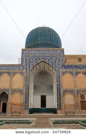Facade of Guri Amir mausoleum in Samarkand Uzbekistan poster