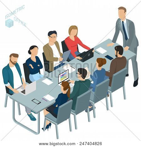 Isometric 3d Flat Design Vector  Office. Corporate Briefing  Teamwork Brainstorming. Diverse Charact