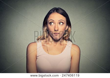 Confused Guilty Looking Woman Feeling Dumb And Ignorant