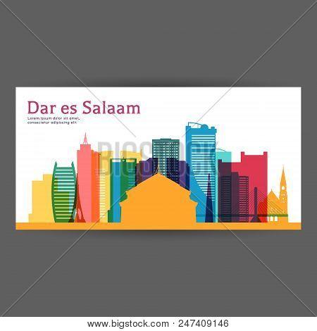 Dar Es Salaam Colorful Architecture Vector Illustration, Skyline City Silhouette, Skyscraper, Flat D