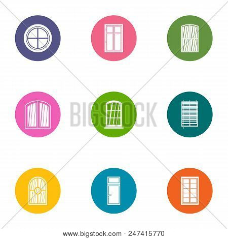 Window Aperture Icons Set. Flat Set Of 9 Window Aperture Vector Icons For Web Isolated On White Back