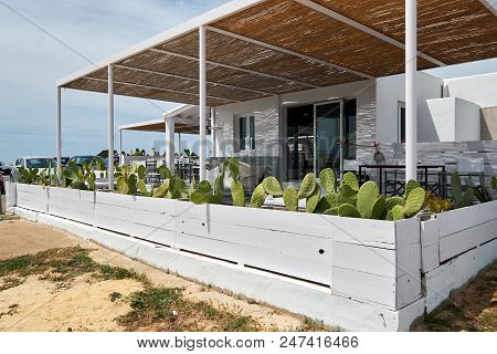 Formentera Island, Spain - May 4, 2018: Outdoors Summer Cafe In The Island Of Formentera. Balearic I