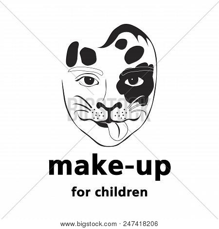 Vector Logo For Children S Make-up Artist. Face Of A Child Painted Under The Muzzle Of A Dog