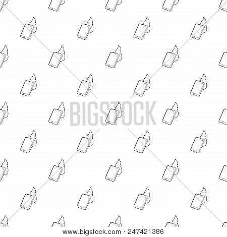 Gadget In Fire Icon. Outline Illustration Of Gadget In Fire Vector Icon For Web Design