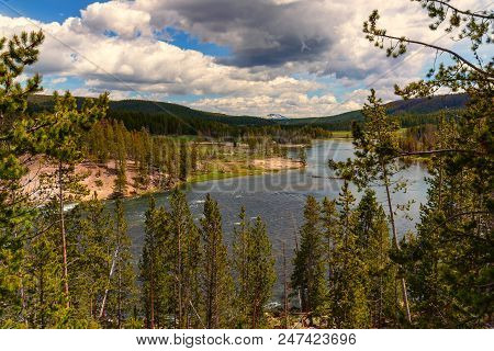 Landscape Of The Valley With View Of The Yellowstone River Inside The National Park.