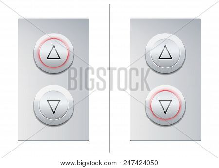 Lift Call Buttons With Arrows To Choose Upwards Or Downwards. Isolated Vector Illustration On White