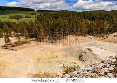 Along The Yellowstone River Lie Mud Volcanoes And Sulfur Caldron Are Mainly Pots Of Mud And Fumarole