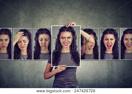 Masked Young Woman Expressing Different Emotions And Feelings