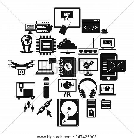 Wireless Technologies Icons Set. Simple Set Of 25 Wireless Technologies Vector Icons For Web Isolate