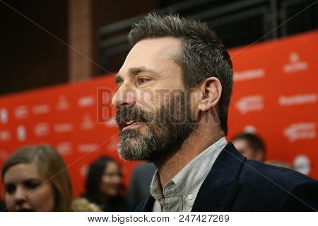 PARK CITY, UT - JAN 22: Actor Jon Hamm attends the 'Beirut' premiere during the 2018 Sundance Film Festival at Eccles Theater on January 22, 2018 in Park City, Utah.