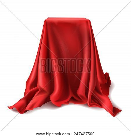 Vector Realistic Box Covered With Red Silk Cloth Isolated On White Background. Empty Podium, Stand W