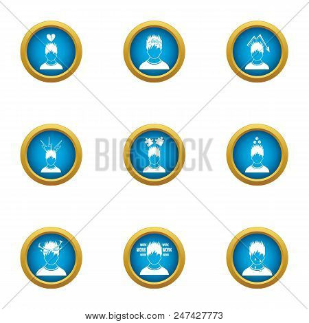 Difficult Life Icons Set. Flat Set Of 9 Difficult Life Vector Icons For Web Isolated On White Backgr