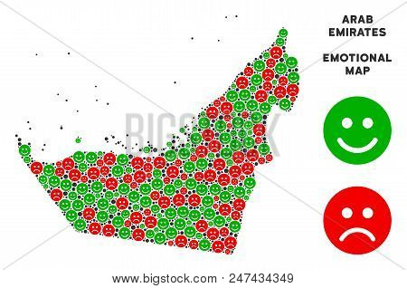 Happiness And Sorrow Arab Emirates Map Composition Of Emojis In Green And Red Colors. Positive And N