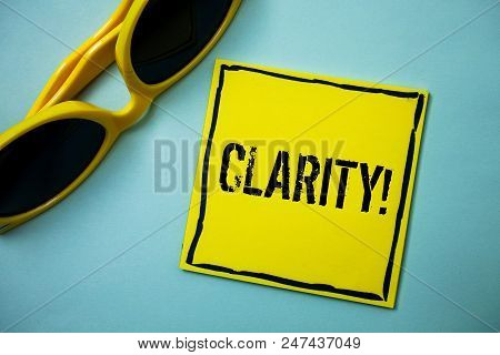 Writing note showing  Clarity. Business photo showcasing Certainty Precision Purity Comprehensibility Transparency Accuracy Ideas messages blue background sunglasses casual annotations thoughts poster