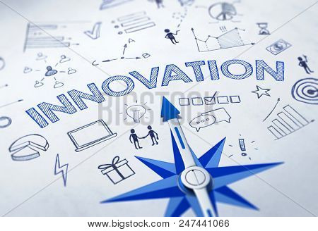 Innovation concept with blue compass. 3d Rendering