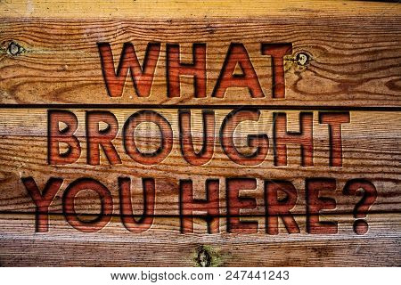 Handwriting Text What Brought You Here Question. Concept Meaning Ambition Can Be Obtain By Determina