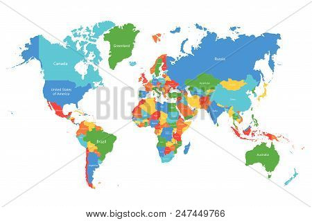Vector World Map. Colorful World Map With Countries Borders. Detailed Map For Business, Travel, Medi