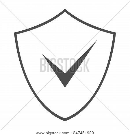 Shield With Check Mark Symbol. Outline. Vector Icon.