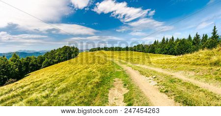Road Through Forested Mountain Ridge.  Beautiful Landscape Of Svydovets Ridge Under The Gorgeous Clo