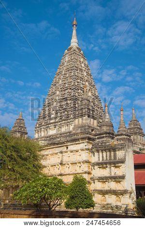 The Central Part Of The Ancient Buddhist Temple Mahabodhi Paya Close-up. Bagan, Myanmar (burma)