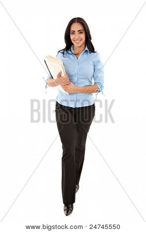 Happy Cheerful Young Hispanic Businesswoman Holding Documents Walking Isolated on White
