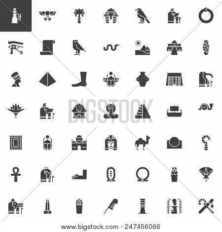 Egypt Elements Vector Icons Set, Modern Solid Symbol Collection, Filled Style Pictogram Pack. Signs,