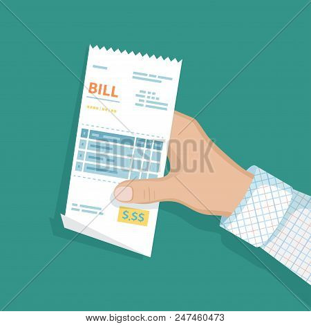 Bill In Man Hand. Icon Sales Shopping Check, Receipt, Invoice, Order. Paying Bills. Payment Of Goods