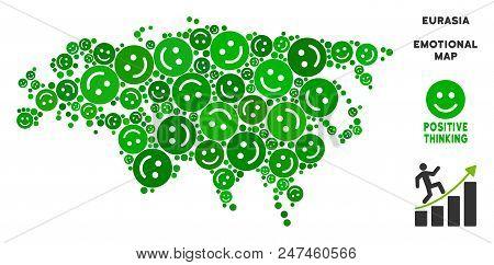 Joy Eurasia Map Mosaic Of Smile Emojis In Green Shades. Positive Thinking Vector Template. Eurasia M