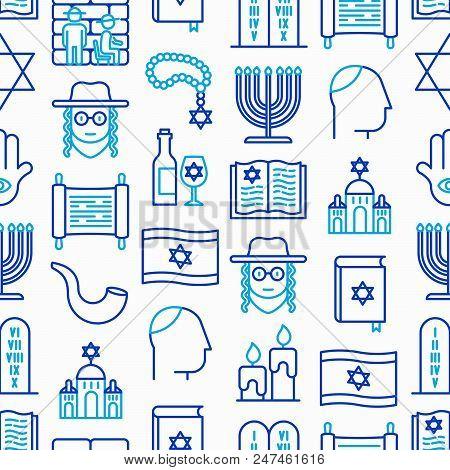 Judaism seamless pattern with thin line icons: Orthodox jew, star of David, sufganiyot, hamsa, candles, synagogue, skullcap, rosary, Western Wal, Tanakh. Modern vector illustration. poster