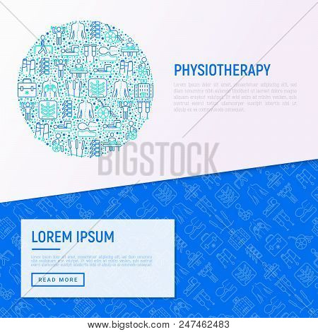 Physiotherapy Concept In Circle With Thin Line Icons: Rehabilitation, Physiotherapist, Acupuncture,
