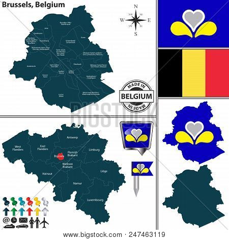 Vector Map Of Brussels Region And Location On Belgian Map