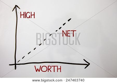 Writing Note Showing  High Net Worth. Business Photo Showcasing Having High-value Something Expensiv